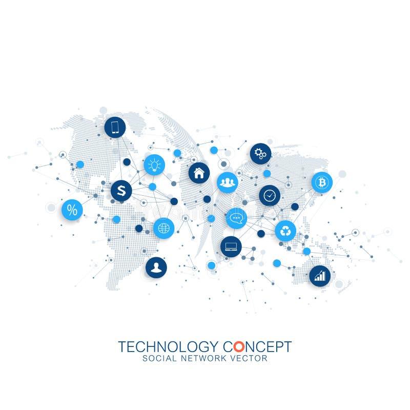 Internet des choses IoT et du vecteur de conception de l'avant-projet de connexion réseau Concept numérique futé illustration de vecteur