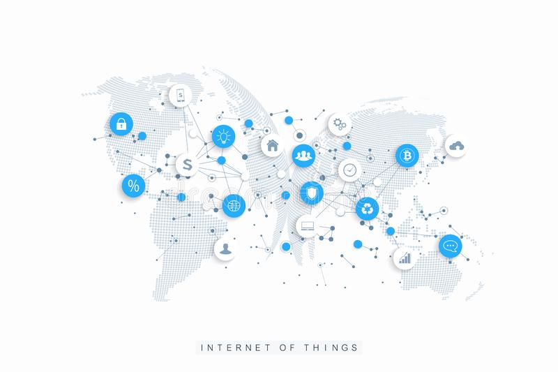Internet des choses IoT et du vecteur de conception de l'avant-projet de connexion réseau Réseau de media et concept sociaux de v illustration de vecteur
