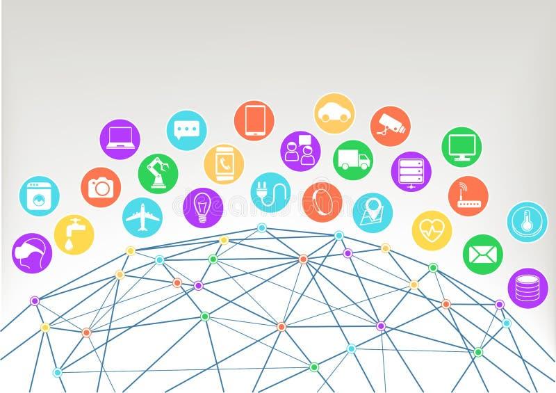 Internet des Illustrationshintergrundes der Sachen (Iot) Ikonen/Symbole für verschiedene verbundene Geräte stock abbildung