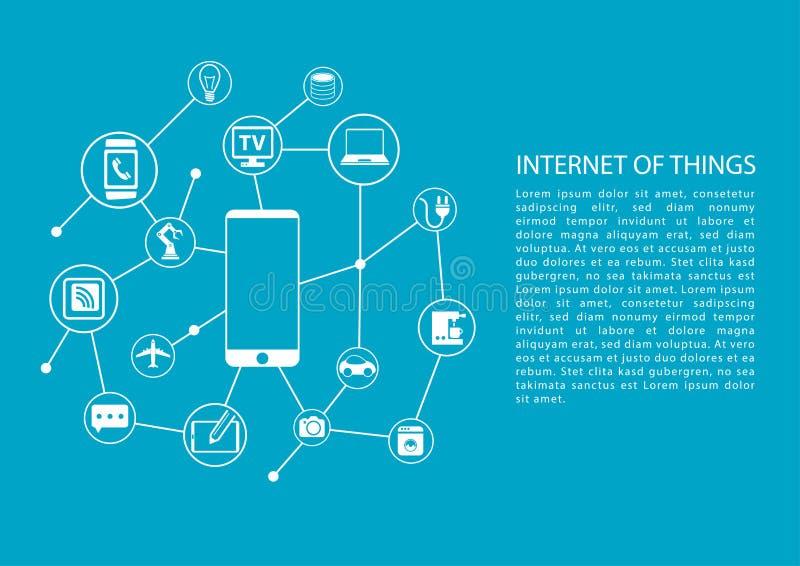 Internet des Konzeptes der Sachen (IOT) mit Handy schloss an Netz von Geräten an vektor abbildung