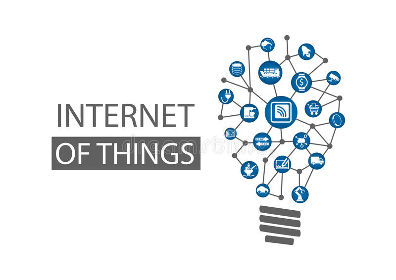 Internet des Konzepthintergrundes der Sachen (IOT) Vektorillustration, die neue innovative Ideen darstellt lizenzfreie abbildung