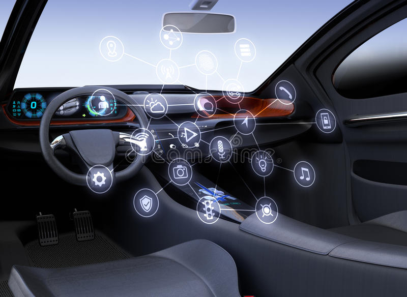 Internet des Sachenkonzeptes für Autos lizenzfreie abbildung