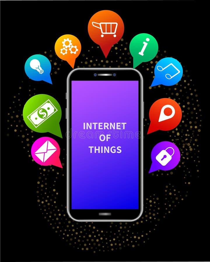 Internet des Sachenkonzeptes IOT Drahtlose Social Media-Netz-Kommunikationstechnologie stock abbildung