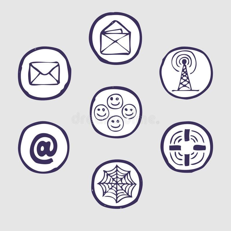 Internet devices icon set. Hand drawn vector illustration on white stock illustration