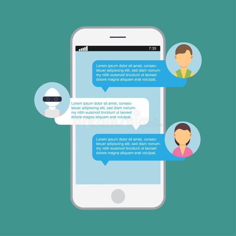 Internet di discorso del robot del bot di chiacchierata Servizio app isolato cellulare di AI Icona di assistenza di intelligenza  illustrazione vettoriale