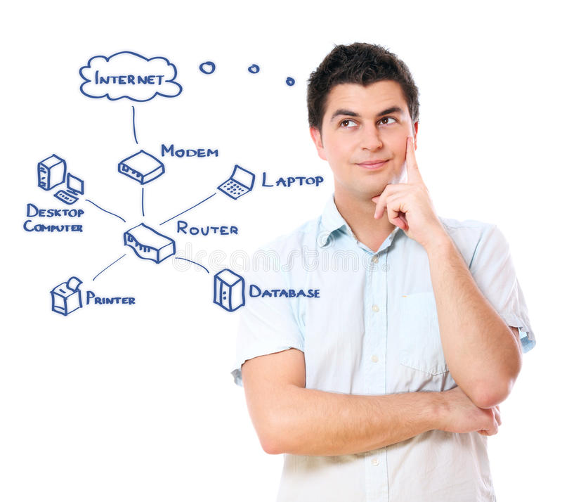 Internet diagram. A picture of a young businessman and an Internet diagram over white background stock photos