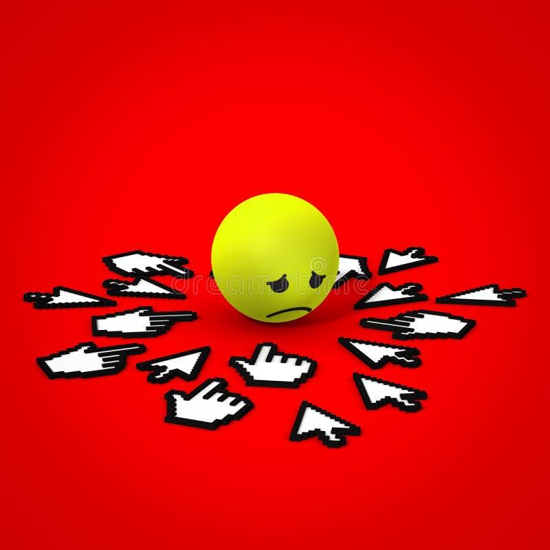 Internet die droevig gezicht intimideren vector illustratie