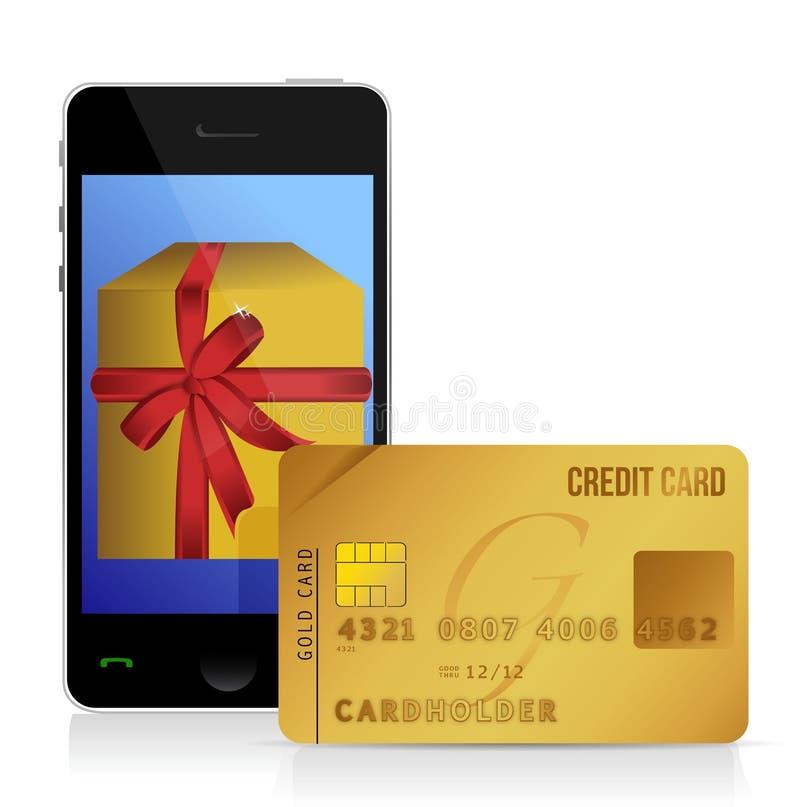 Internet die met slimme telefoon en creditcard winkelen stock illustratie