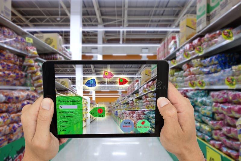 Internet die van dingen concepten, slimme vergrote werkelijkheid op de markt brengen, stock afbeeldingen