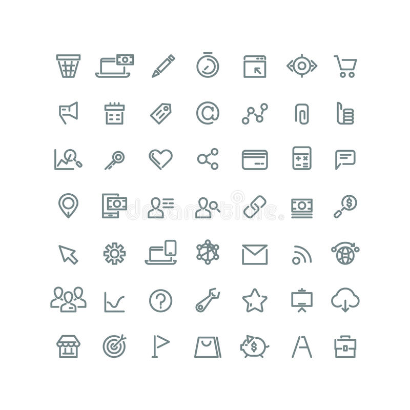 Internet digital marketing, E-commerce line vector icons for your business stock illustration