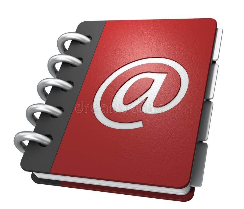 Internet directory. With e-mail symbol on the cover (3d illustration royalty free illustration