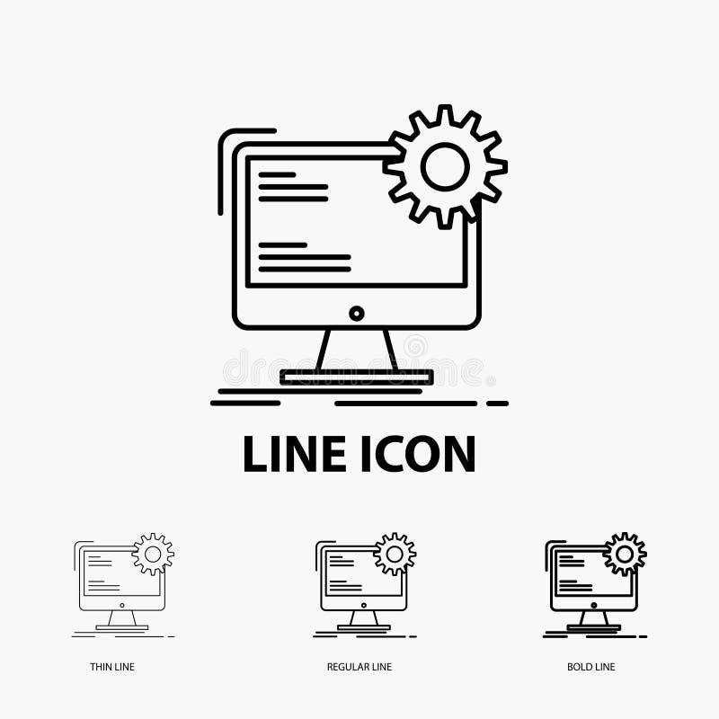 Internet, disposição, página, local, ícone estático na linha estilo fina, regular e corajosa Ilustra??o do vetor ilustração royalty free