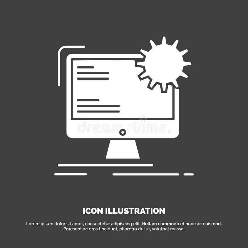 Internet, disposição, página, local, ícone estático s?mbolo do vetor do glyph para UI e UX, Web site ou aplica??o m?vel ilustração stock