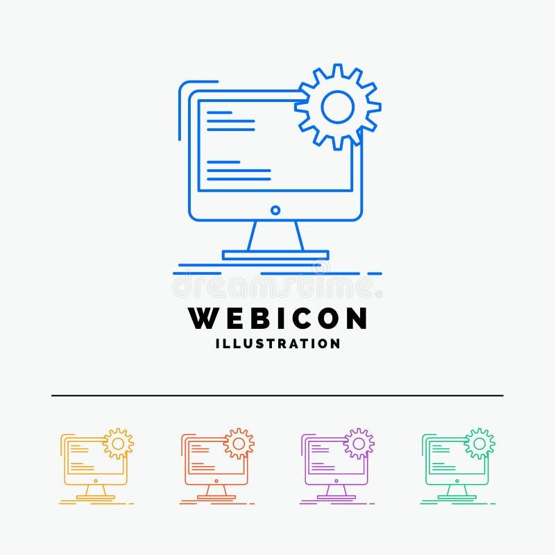 Internet, disposição, página, local, linha de cor 5 estática molde do ícone da Web isolado no branco Ilustra??o do vetor ilustração royalty free