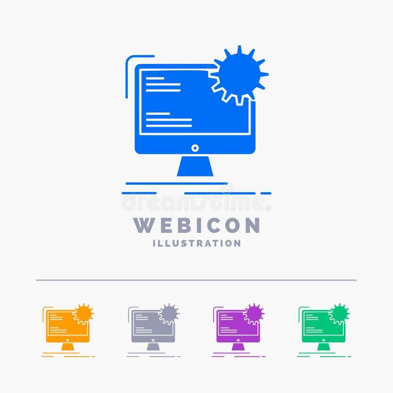 Internet, disposição, página, local, molde estático do ícone da Web do Glyph de 5 cores isolado no branco Ilustra??o do vetor ilustração stock