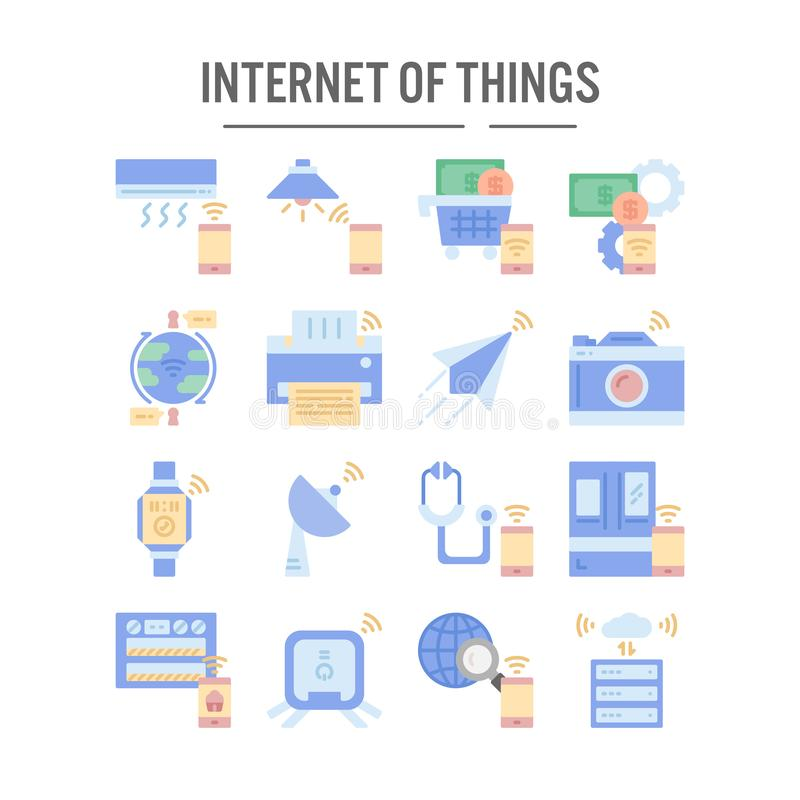 Internet do ícone das coisas no projeto liso para o design web, infographic, apresentação, aplicação móvel - ilustração do vetor ilustração royalty free