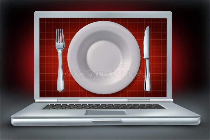 Internet do computador portátil dos restaurantes do entretenimento ilustração do vetor