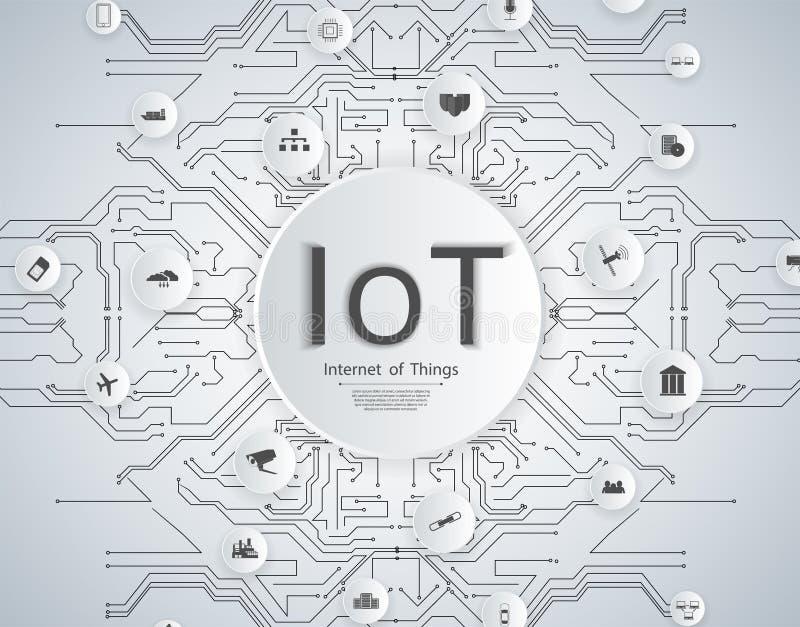 Internet do conceito da rede de IoT das coisas para dispositivos espertos conectados Web de aranha de ícones das conexões de rede ilustração stock