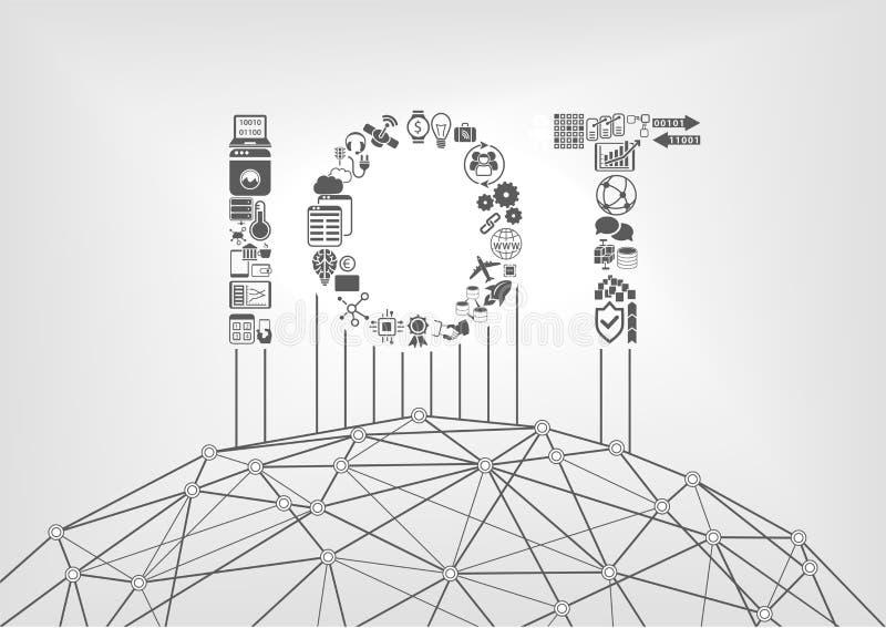 Internet do conceito das coisas com texto de IOT ilustração stock