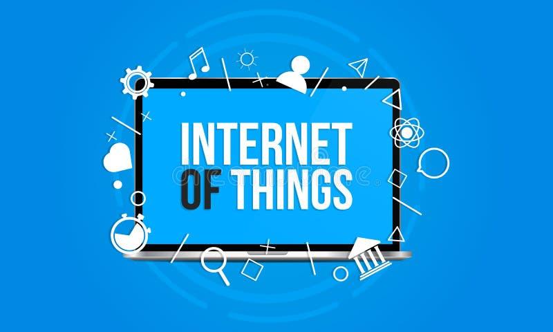 Internet do conceito das coisas - o portátil isolado em um fundo azul com muitos ícones joga saídas da tela ilustração do vetor