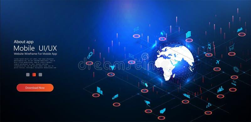 Internet do continente da terra do planeta das coisas ilustração stock