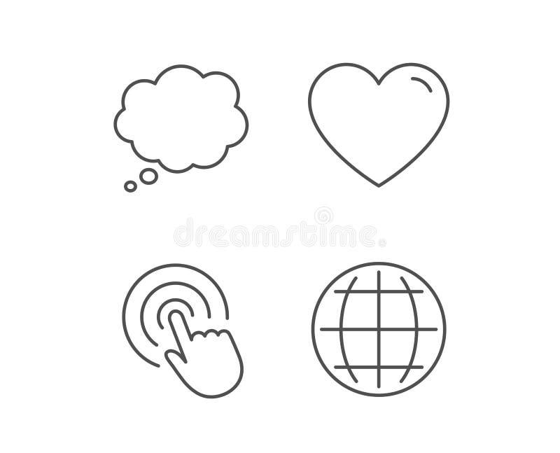Internet do globo, bolha do discurso e ícones do clique ilustração do vetor