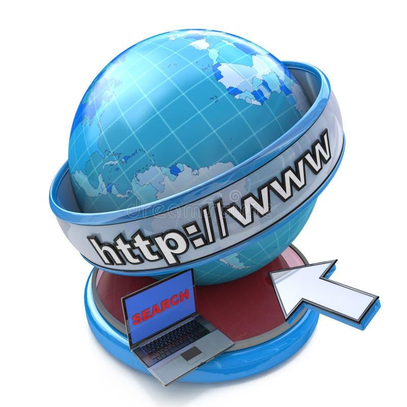 Internet do globo que procura o conceito, o página da web ou o navegador de Internet ilustração royalty free