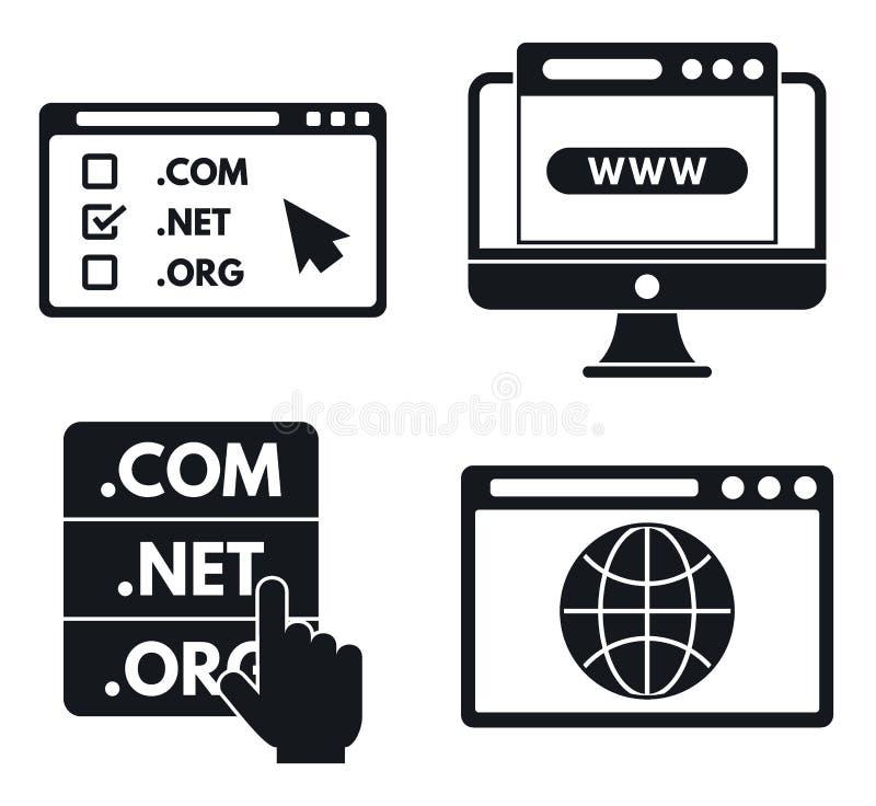 Internet domain icons set, simple style royalty free illustration