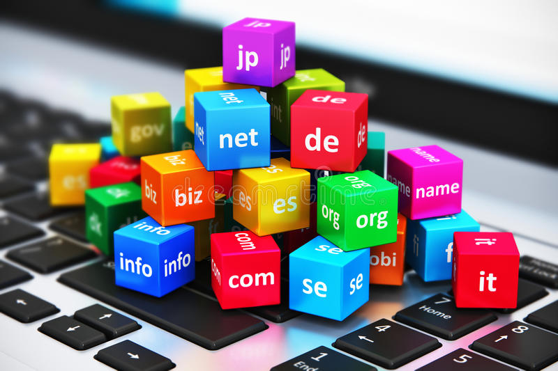 Internet and domain names concept. Creative abstract global internet communication PC technology and web telecommunication business computer concept: macro view royalty free illustration