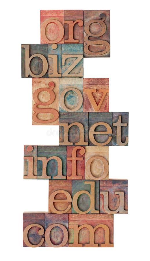 Internet domains in letterpress type. Collage of popular internet domain extensions (org, biz, gov, net, info, edu, com) - vinatage wooden letterpress printing stock photos