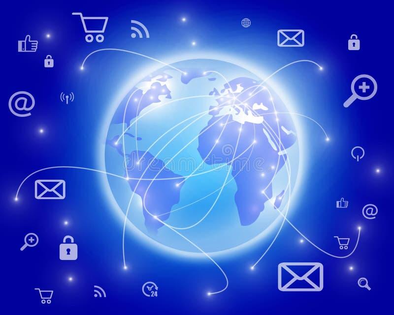 Internet dos trabalhos em rede do globo do mundo foto de stock royalty free