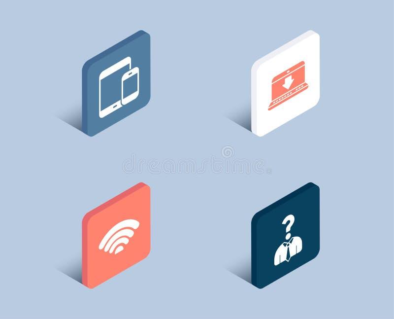 Internet-Downloading, Ikonen Wifi und der tragbaren Geräte Einstellungsangestelltzeichen lizenzfreie abbildung