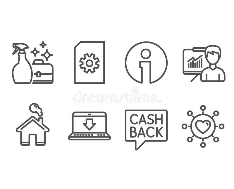 Internet-Downloading, Reinigerspray und Geldüberweisungsikonen vektor abbildung