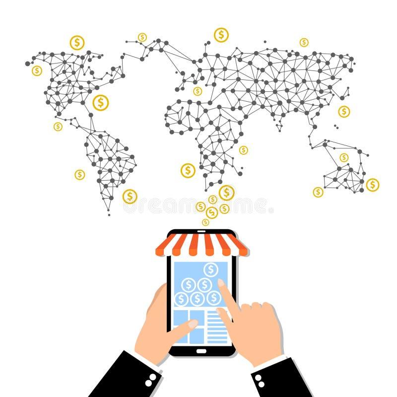 Internet e conceito móvel do mercado Rede social Compra em linha Clientes que compram no supermercado Negócio do investimento Est ilustração do vetor