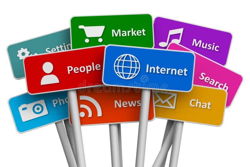 Internet e concetto sociale di media royalty illustrazione gratis