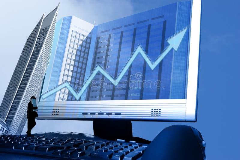 Internet e sucesso financeiro crescente imagens de stock royalty free