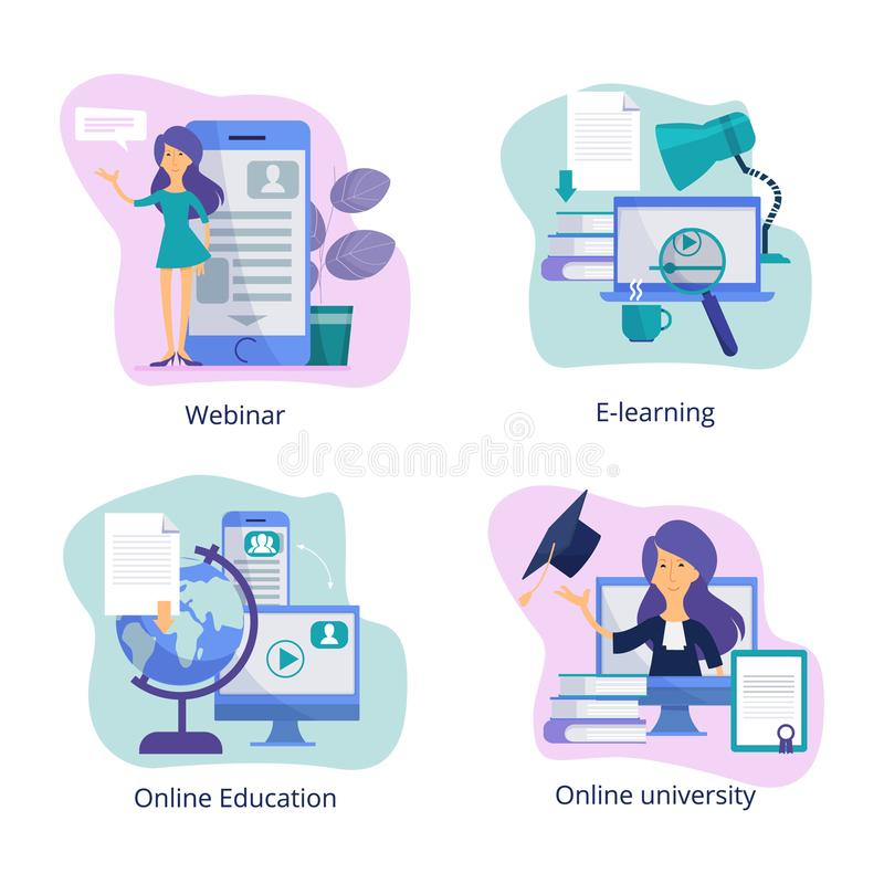 Internet education. Web classroom for distance tutorials online courses and webinars virtual trainings vector royalty free illustration