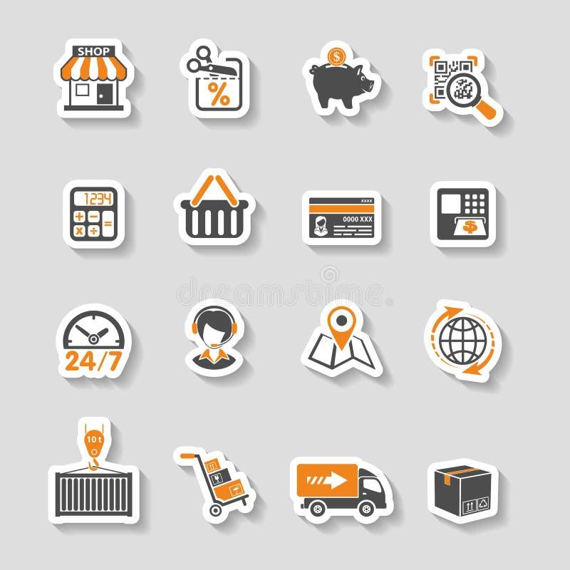 Internet-Einkaufen und Lieferungs-Aufkleber-Ikonen-Satz lizenzfreie abbildung