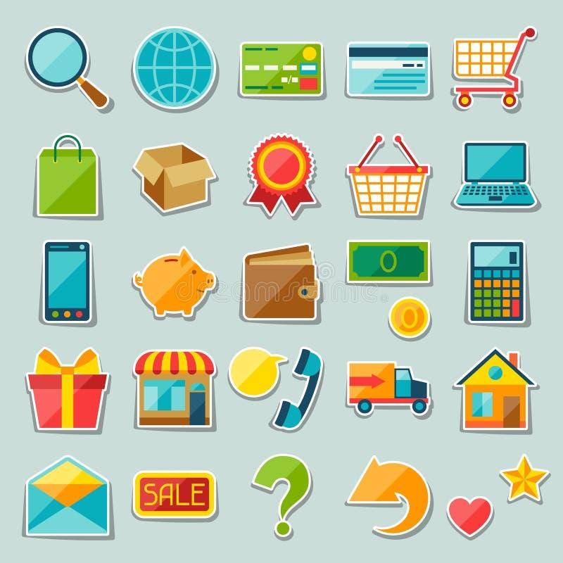 Internet-Einkaufsaufkleber-Ikonensatz lizenzfreie abbildung