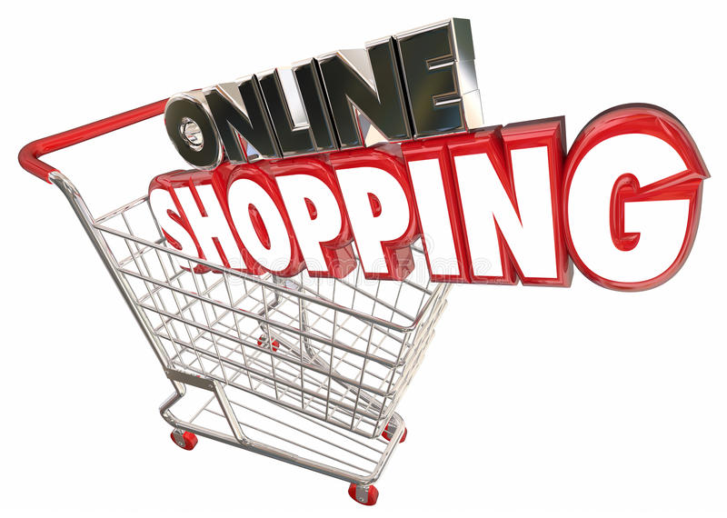 Internet em linha Digital dos produtos da compra do carrinho de compras ilustração royalty free