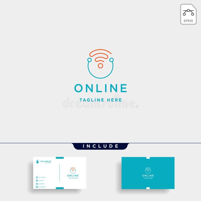 Internet em linha do vetor do projeto do logotipo do curso que aprende o sinal do símbolo ilustração stock
