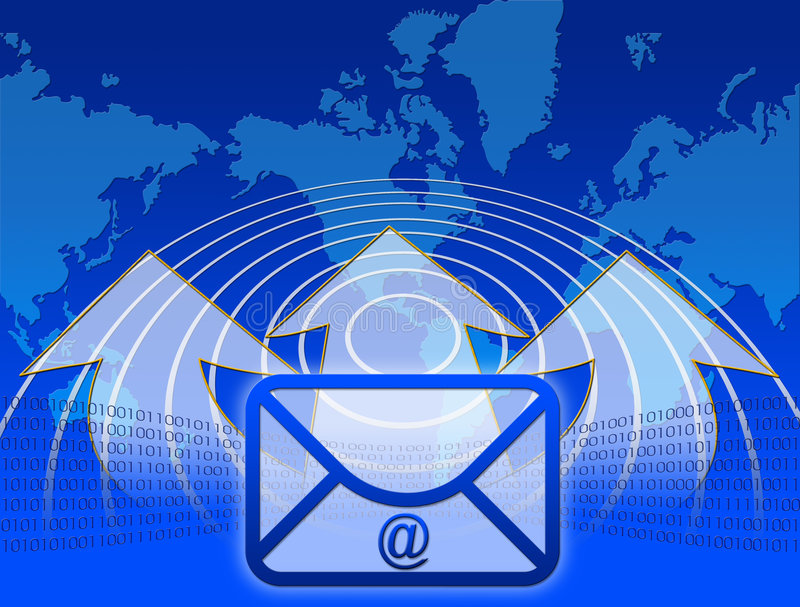 Internet and email. Graphics with world map and arrows royalty free illustration