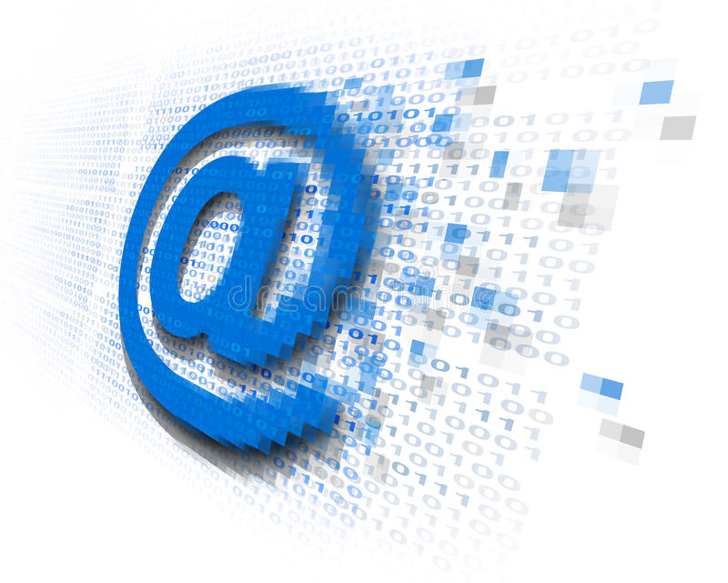 Internet Email Security. Technology concept as an at sign icon being encrypted for data transfer protection with binary code background as an online safety icon stock illustration