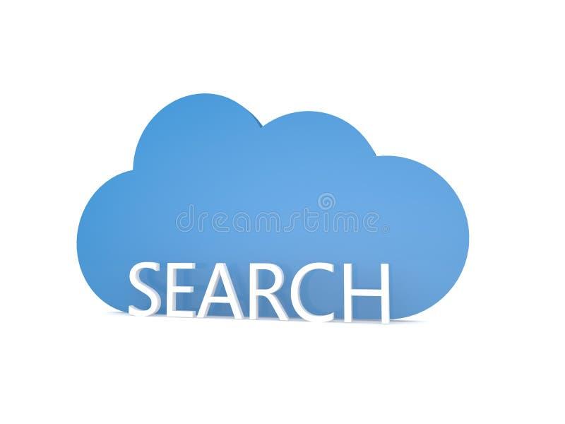 Internet en het wolkensymbool op een witte achtergrond zoek stock illustratie