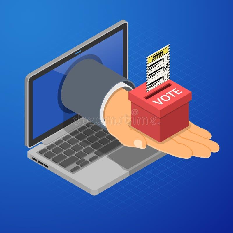 Internet en línea que vota concepto isométrico stock de ilustración