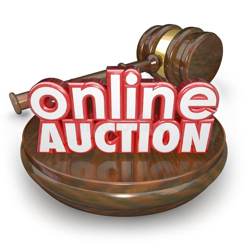 Internet en ligne de Gavel de vente aux enchères offrant l'article d'achat de victoire de site Web illustration de vecteur