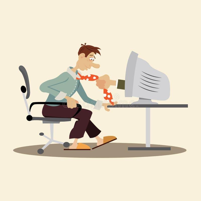 Internet es hombre adictivo ilustración del vector