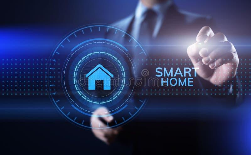 Internet esperto da automatização de processo IOT da vida da casa do conceito das coisas na tela imagens de stock royalty free