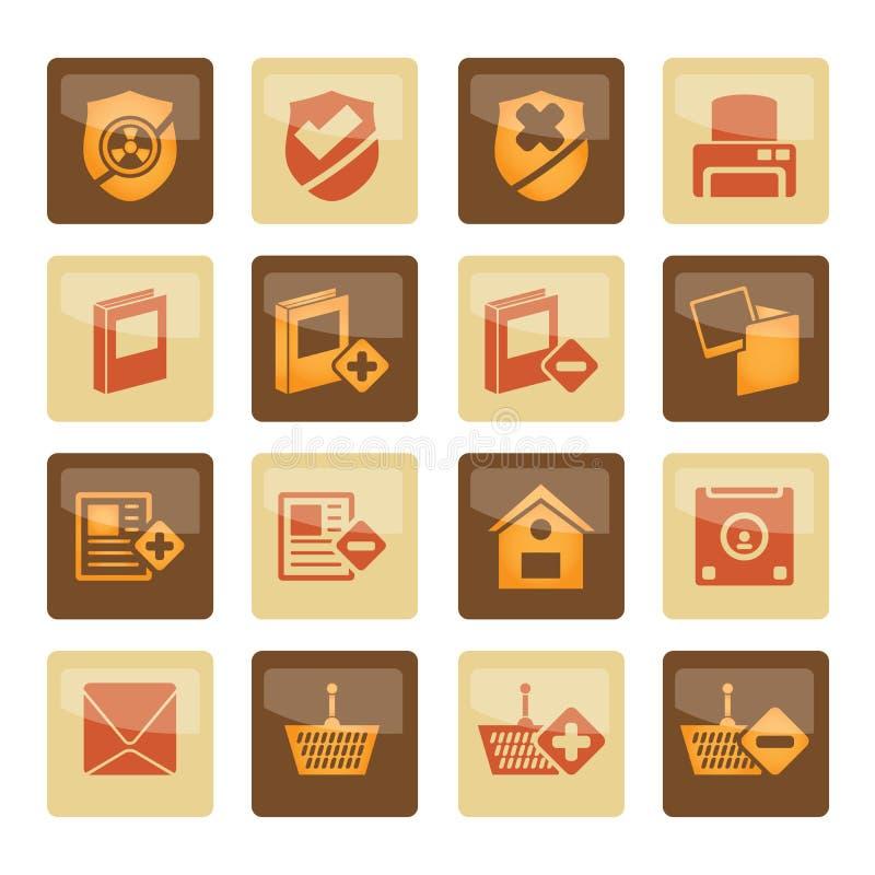 Internet et boutons et icônes de site Web au-dessus de fond brun illustration de vecteur