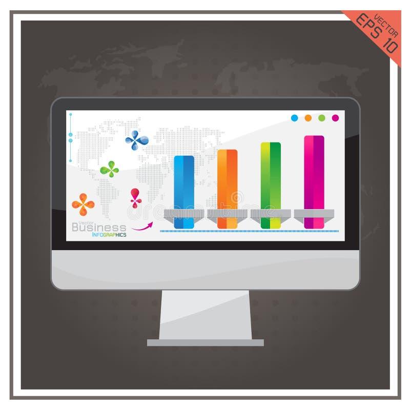 Internet för översikt för näringsliv för uppsättning för datorgrafvektor stock illustrationer
